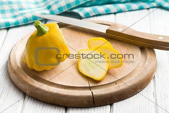 sliced yellow patisson