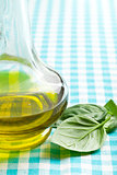 basil leaves and olive oil