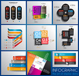 Infographic design templates collection with paper tags.