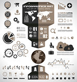 Infographic elements - set of paper tags, technology icons...