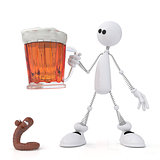 The 3D little man with beer.