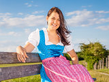 woman in bavarian traditional dirndl