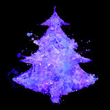 christmas tree with fluorescent splash texture