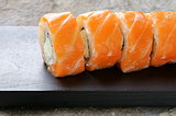 Philadelphia rolls with salmon -  traditional Japanese food
