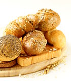 different types of bread (rye bread, white  loaf, bun)