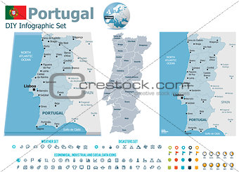 Portugal maps with markers