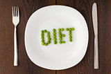 Word diet made of peas on a plate