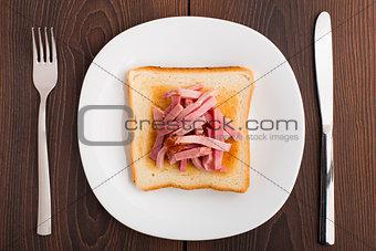 Toast with ham