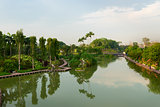 Lake in the modern tropical park, Singapore
