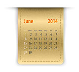 Glossy calendar for june 2014 on leather texture. Sundays first