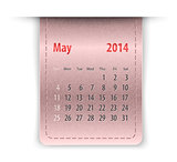 Glossy calendar for may 2014 on leather texture. Sundays first