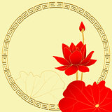 Oriental Lotus Flower on Yellow Background