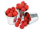 Buckets with Raspberries