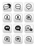 Speech bubble, blog, contact vector buttons set