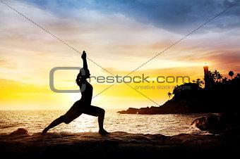 Yoga near lighthouse