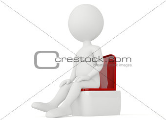 3d humanoid character sitting on a toilet