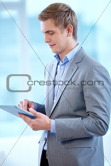 Man with touchpad