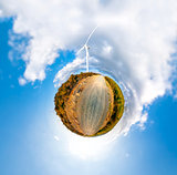Little planet with wind turbines