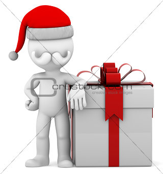 3d Santa with big present box