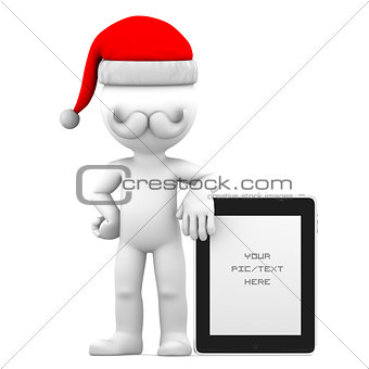3d Santa and holding tablet