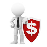 Businessman holding shield with dollar currency symbol