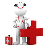 Doctor with medical cross symbol