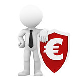 Businessman holding shield with a euro currency symbol.