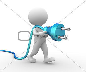 3d man with a electric plug