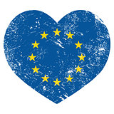 EU, I love European Union heart retro flag