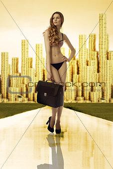 business woman in bikini golden city on back
