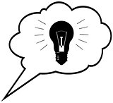 Genius idea - lightbulb in speech bubble cloud. Vector illustrat