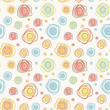 Abstract vintage vector seamless pattern - color curves circles