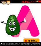 letter a with avocado cartoon illustration