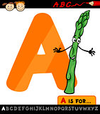 letter a with asparagus cartoon illustration