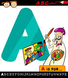 letter a with artist cartoon illustration