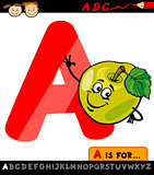 letter a with apple cartoon illustration