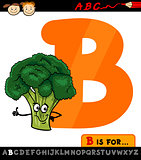 letter b with broccoli cartoon illustration
