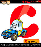 letter c with car cartoon illustration