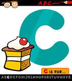 letter c with cake cartoon illustration