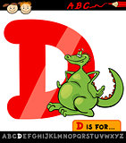 letter d with dragon cartoon illustration