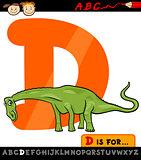 letter d with dinosaur cartoon illustration