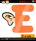 letter e with ear cartoon illustration