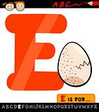 letter e with egg cartoon illustration
