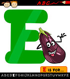 letter e with eggplant cartoon illustration