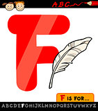 letter f with feather cartoon illustration