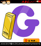 letter g with gold cartoon illustration