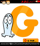 letter g with ghost cartoon illustration