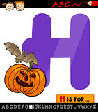 letter h for halloween cartoon illustration