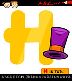 letter h with hat cartoon illustration