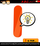 letter i with idea sign cartoon illustration